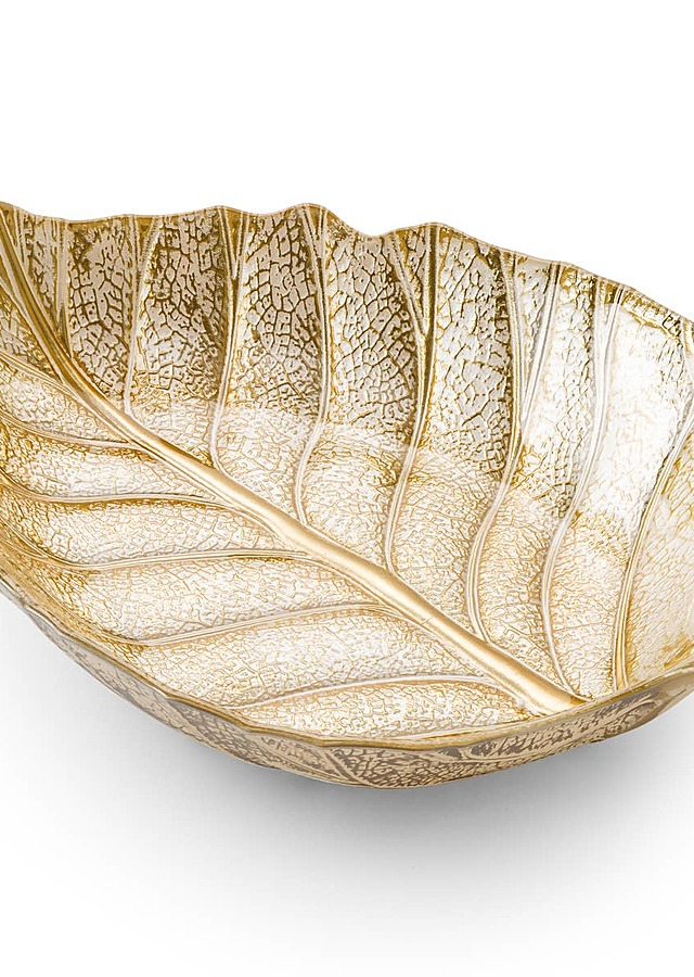 "Display of 15"" Gold Leaf Dish by The Flower Alley"