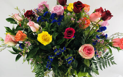 Display of 3 Dozen Long Stem Multi-Colored Roses by The Flower Alley
