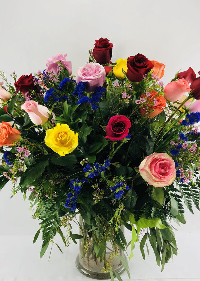 3 Dozen Long Stem Multi-Colored Roses by The Flower Alley