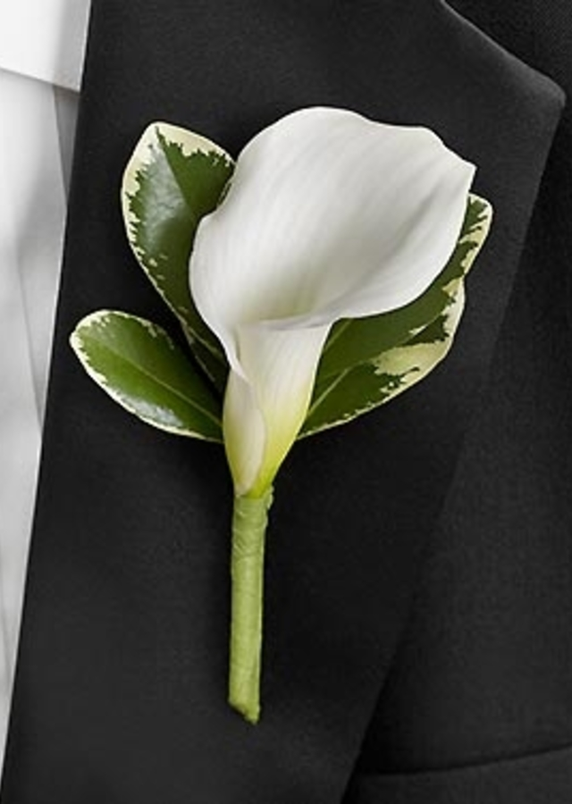 Display of A Classic White Calla Boutonniere by The Flower Alley
