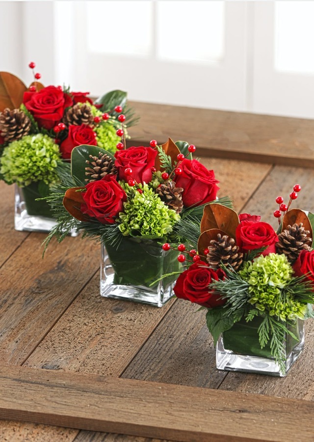 A Trio of Christmas Centerpieces by The Flower Alley