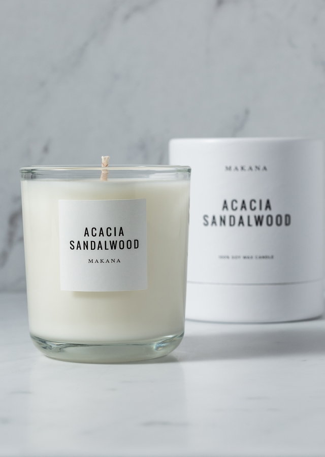 Display of Acacia Sandalwood - Classic Candle by The Flower Alley