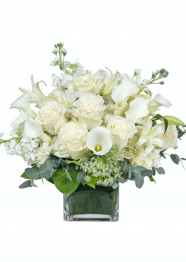 Display of All White Premium Cube Vase by The Flower Alley