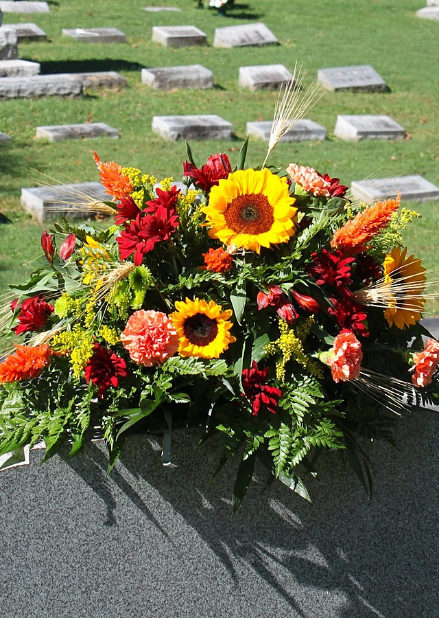 Display of Autumn Fresh Cemetery Saddle by The Flower Alley