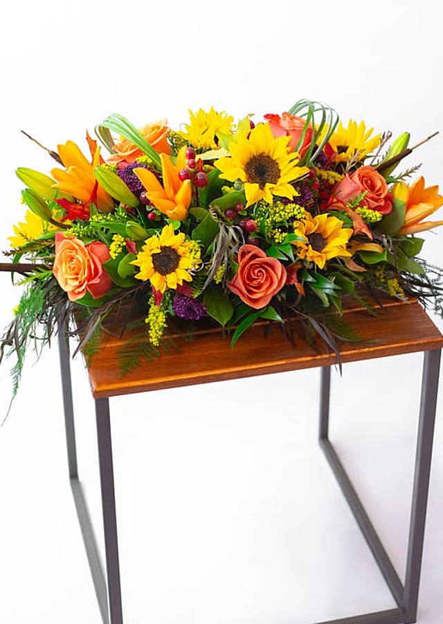 Display of BeautiFALL Centerpiece by The Flower Alley