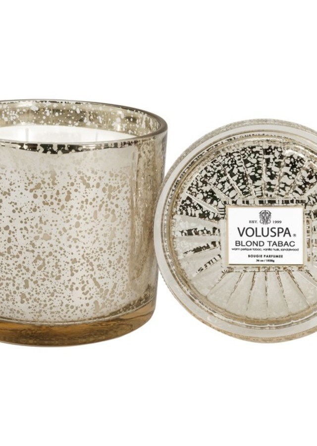 Display of Blond Tabac 3 Wick Glass Candle by The Flower Alley