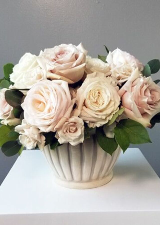 Display of Blush Collection: Medium Centerpiece by The Flower Alley