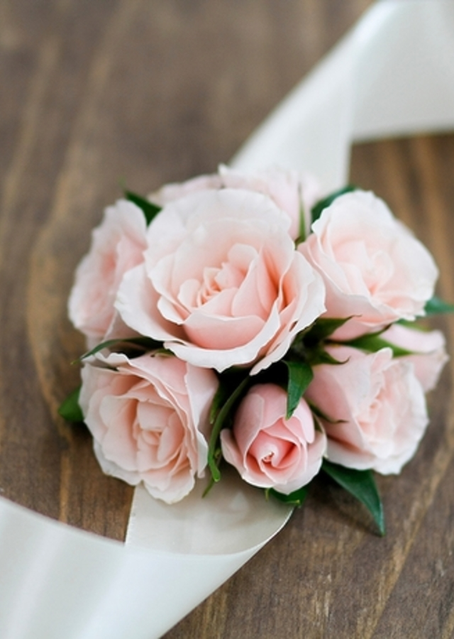 Display of Blush Corsage by The Flower Alley
