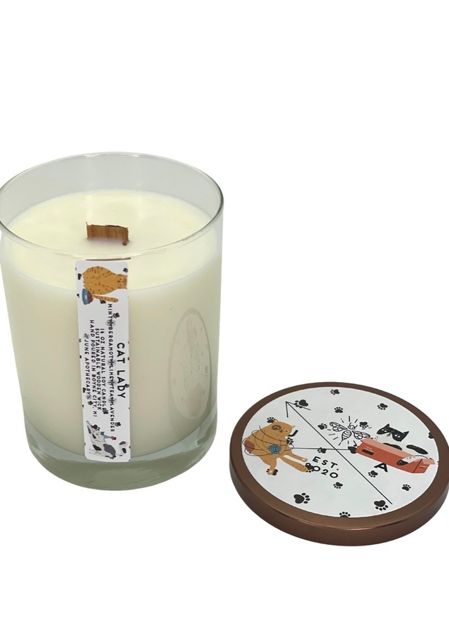 Display of Cat Lady 14oz Wooden Wick Tumbler Candle by The Flower Alley
