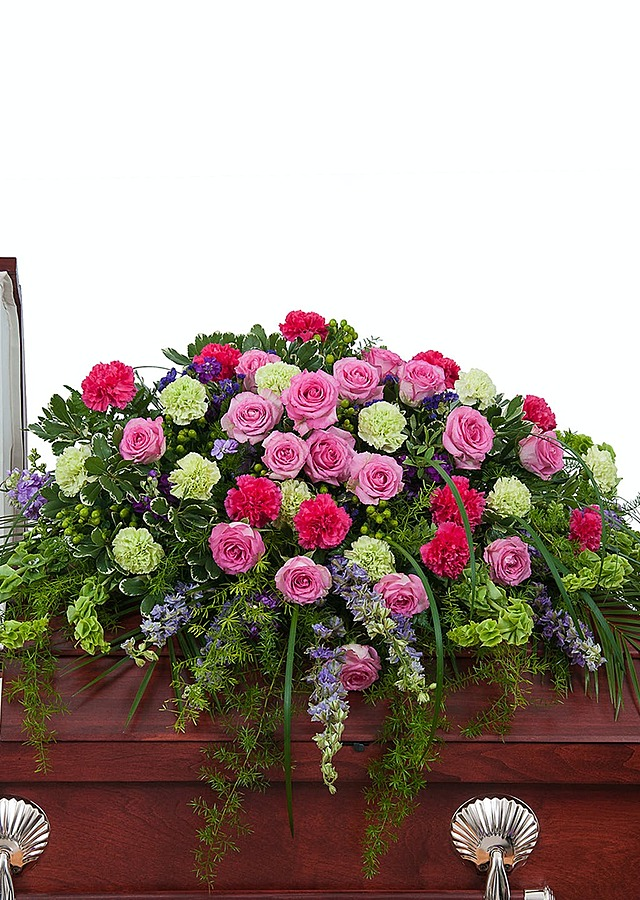 Display of Cherished Casket Spray by The Flower Alley