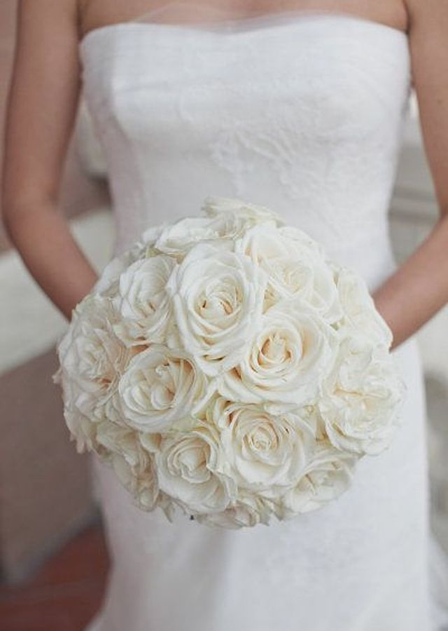 Classic All White Rose Bouquet by The Flower Alley