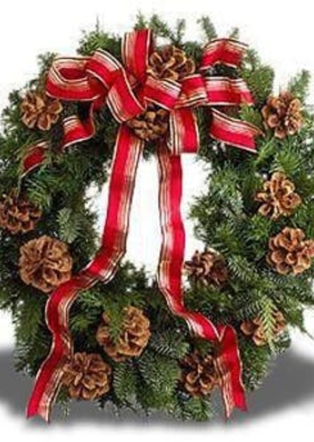Display of Classic Holiday Wreath by The Flower Alley