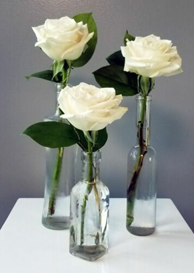 Display of Classic Roses : Trio of budvases by The Flower Alley