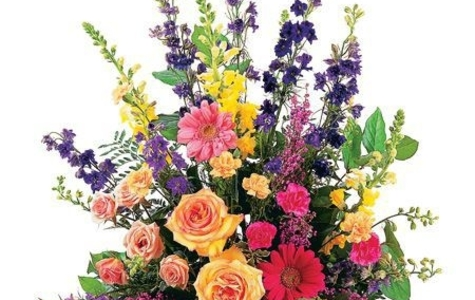 Display of Classic Sympathy Arrangement by The Flower Alley