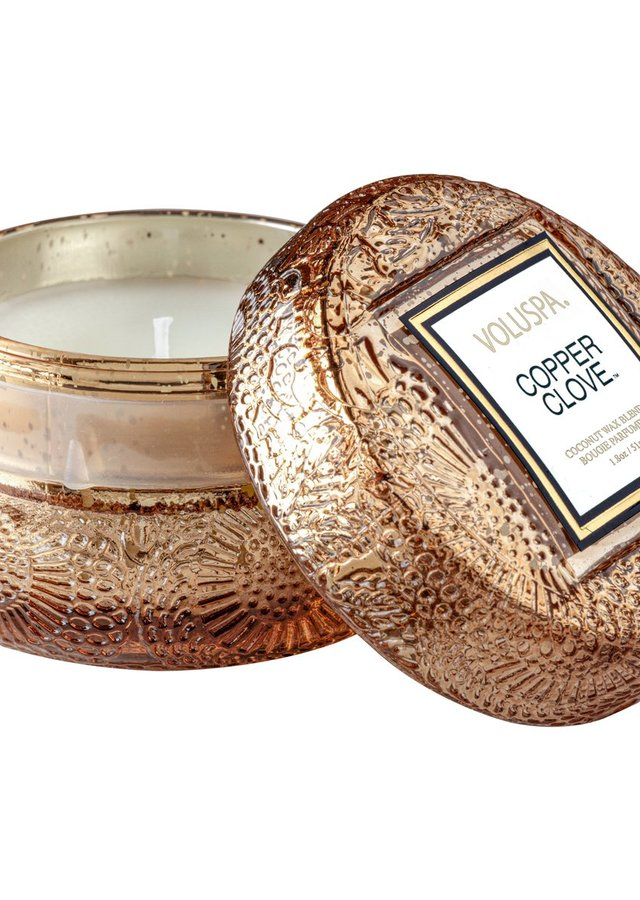 Display of Copper Clove Macaron Candle by The Flower Alley