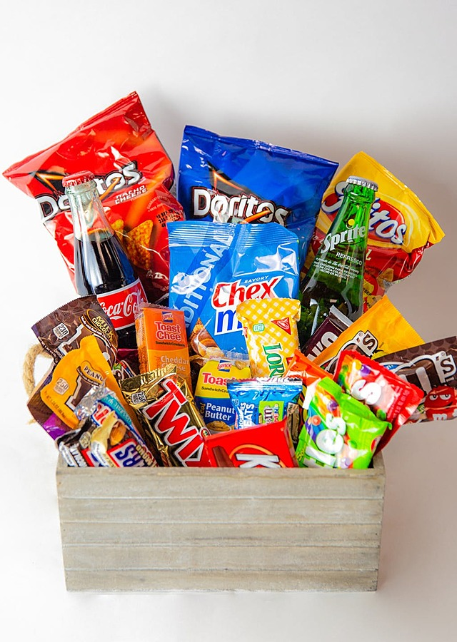Display of Cravings Snack Basket by The Flower Alley