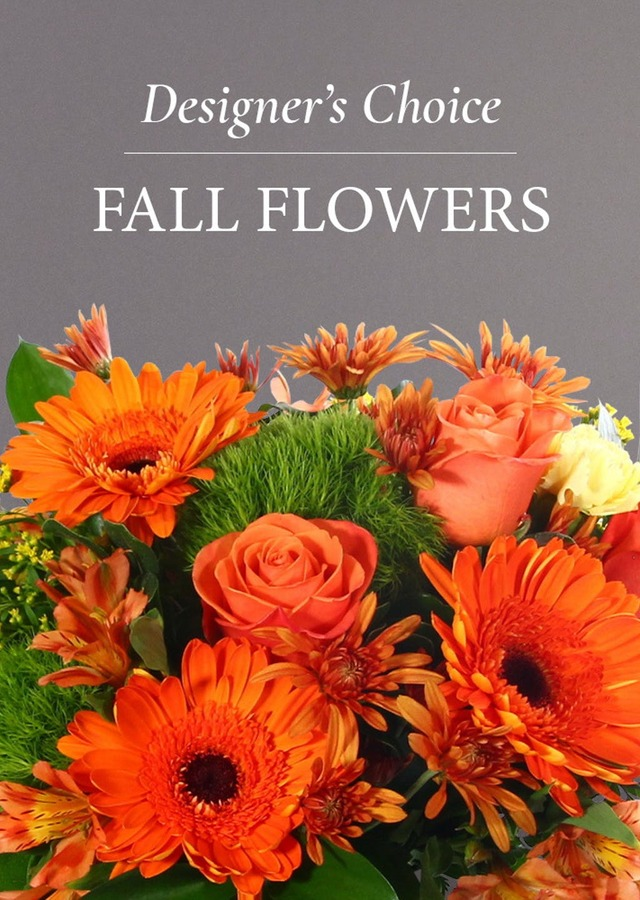 Display of Designer's Choice Fall Arrangement by The Flower Alley