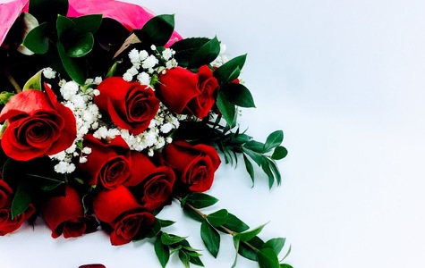 Display of Dozen Ecuadorian Long Stem Red Rose Loose Wrapped Bouquet by The Flower Alley