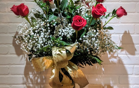 """Display of Dozen Long Stem Ecuadorian Roses Plus 12 Piece Tin of Louis Sherry Chocolates """"New York's Finest"""" by The Flower Alley"""