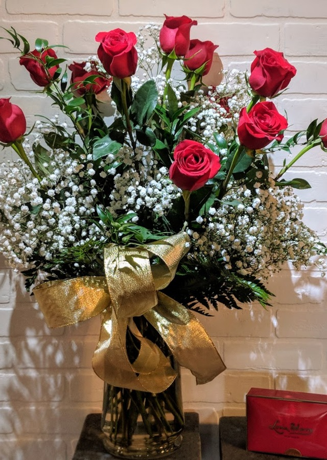 12 Long Stem Roses & Chocolates by The Flower Alley