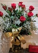 Dozen long stem ecuadorian roses plus tin of louis sherry chocolates  new york s finest  thumb