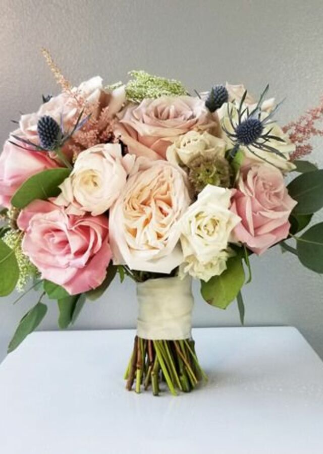 Display of Dusty Blush: Medium Bouquet by The Flower Alley