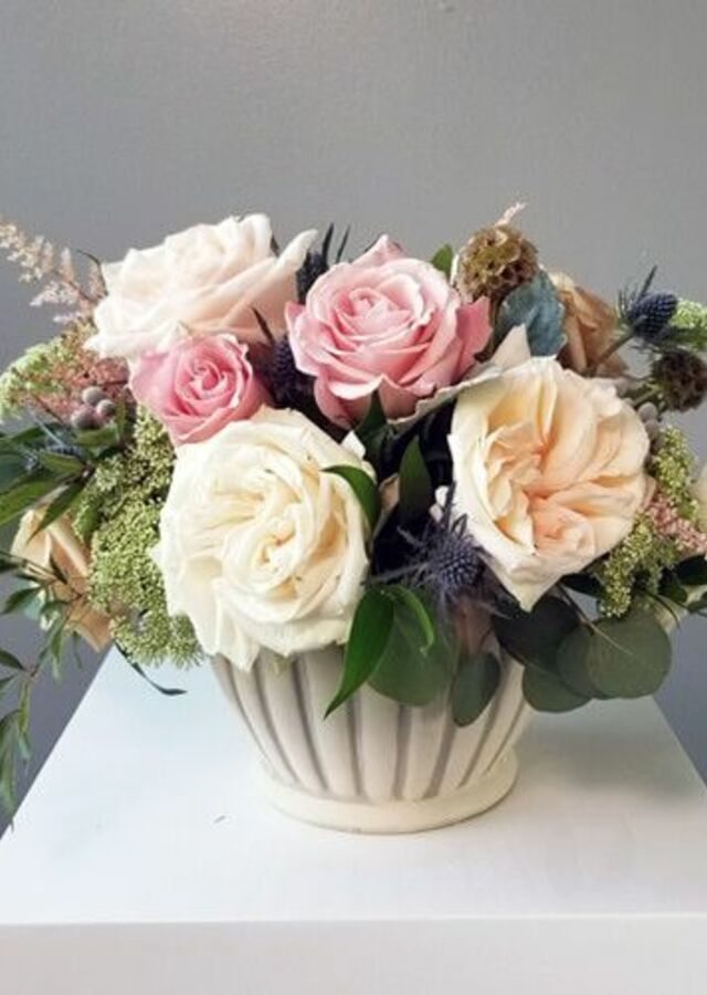 Dusty Blush: Medium Centerpiece by The Flower Alley
