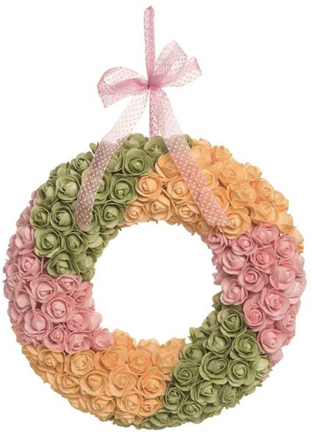 Display of Easter Bright Rosette Wreath by The Flower Alley