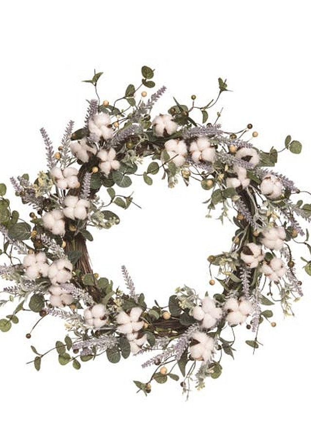 Display of Easter Cotton and Lavender Wreath by The Flower Alley