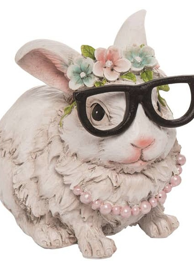 Display of Easter Hipster Bunny Figurine by The Flower Alley