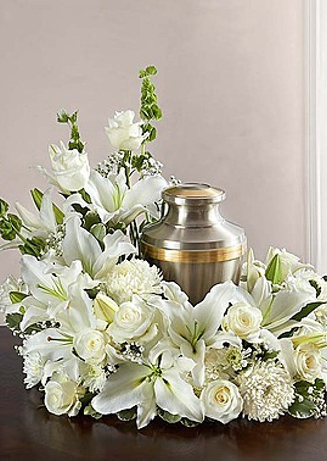 Display of Elegant Urn Wreath by The Flower Alley