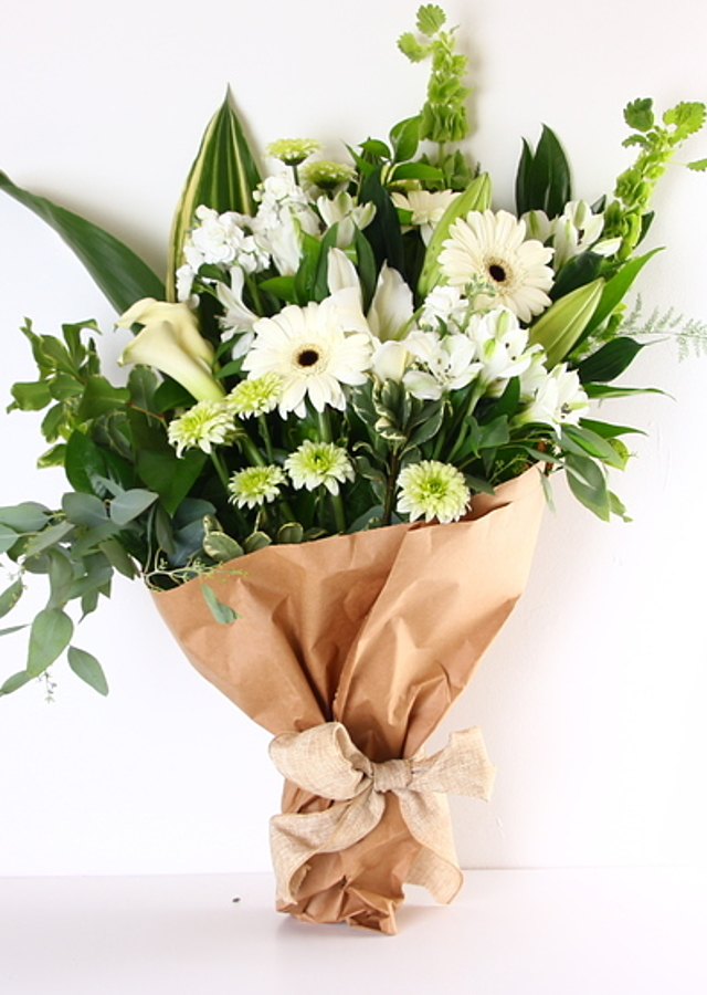 Display of Elegant White and Green Bloom Bunch by The Flower Alley