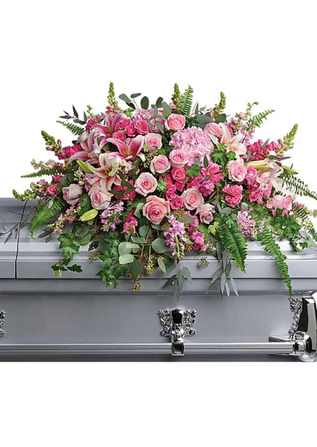 Display of Endless Adoration Casket Spray by The Flower Alley