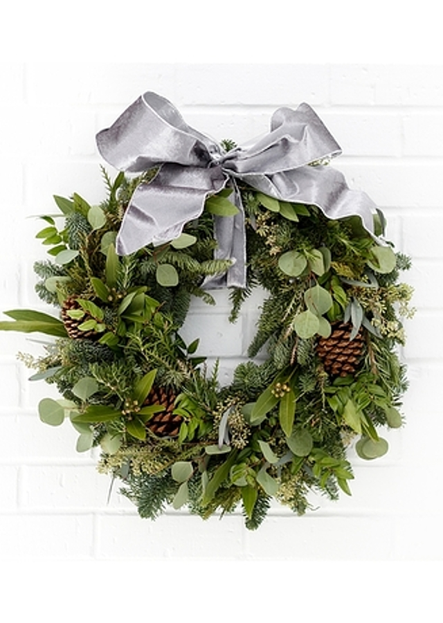 Evergreen & Silver Snow Wreath by The Flower Alley