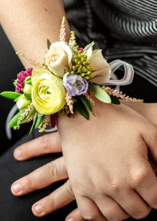 Display of Fairytale Corsage by The Flower Alley