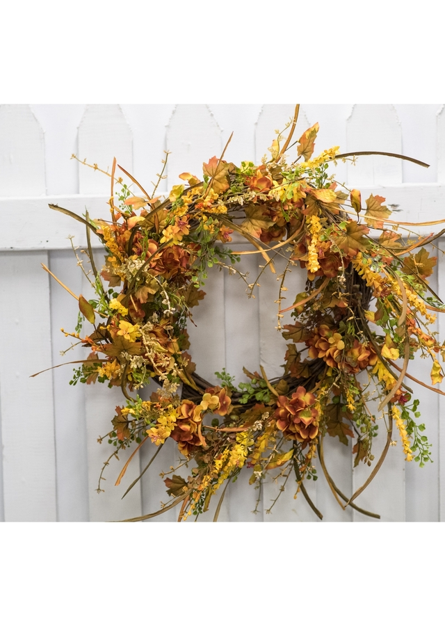 Display of Fall Hydrangea Wreath by The Flower Alley