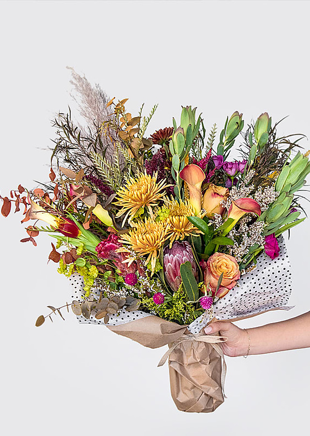 Display of Fall Seasonal Bouquet by The Flower Alley