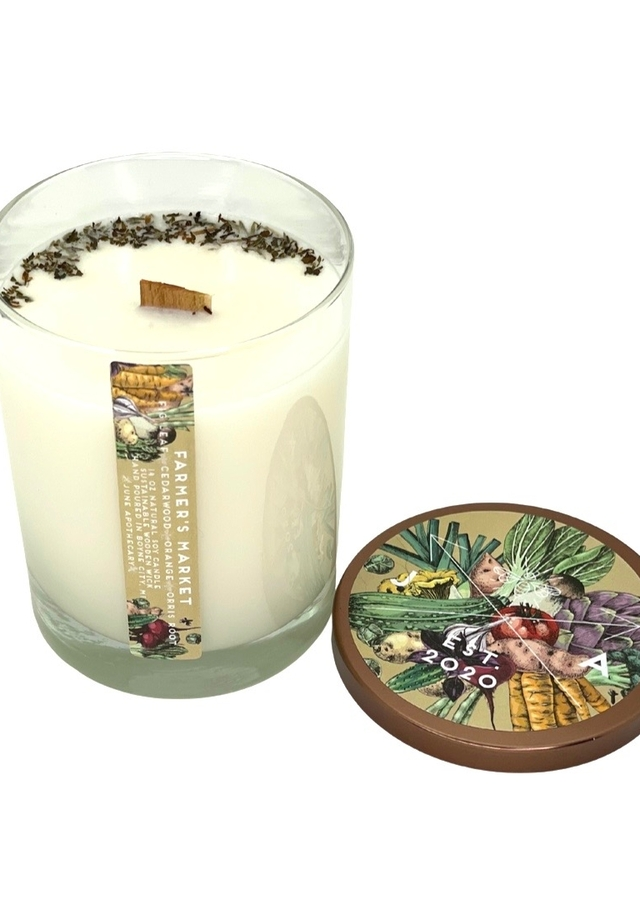 Display of Farmer's Market 14oz Wooden Wick Tumbler Candle by The Flower Alley