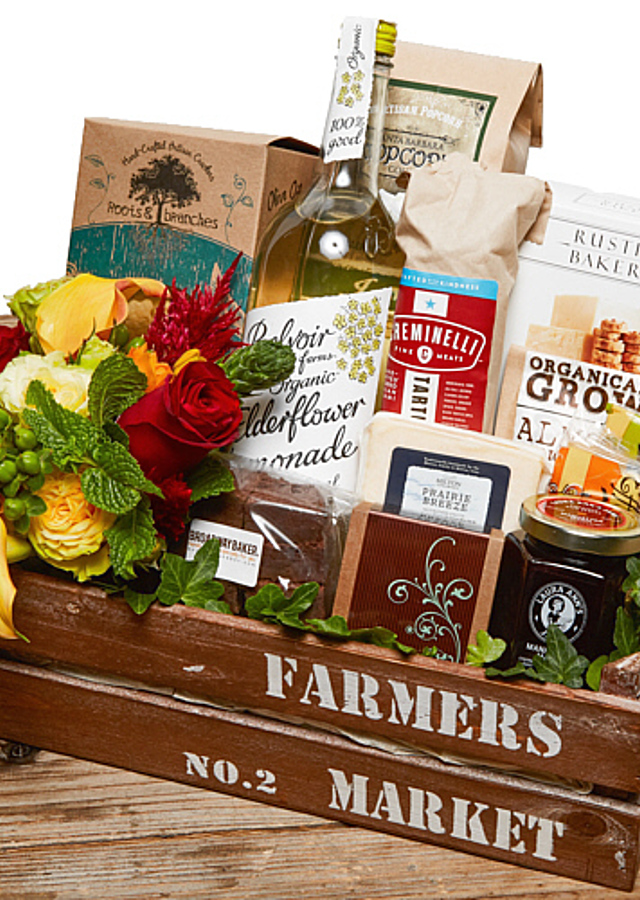 Display of Farmers Market Gourmet Basket by The Flower Alley
