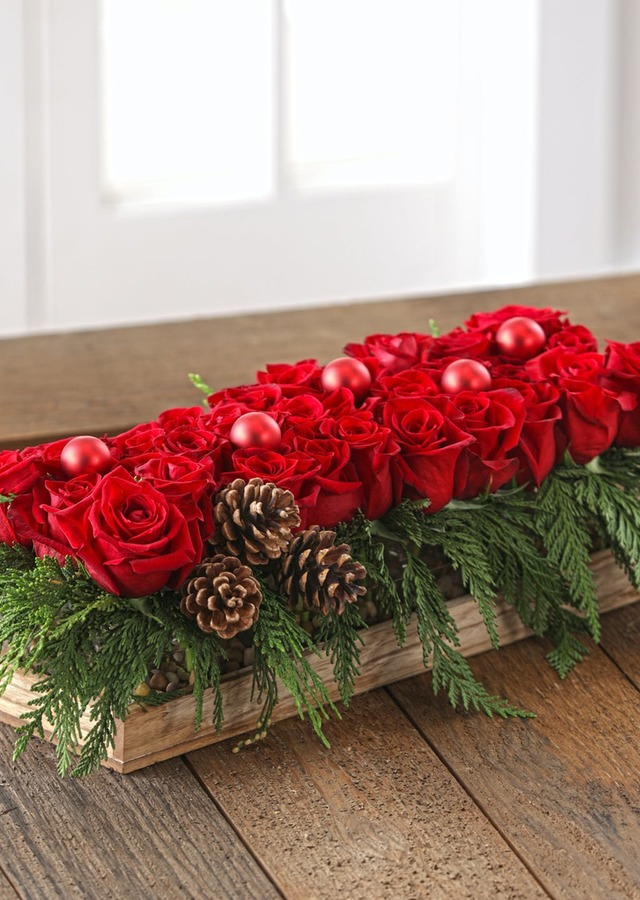 Festive Holiday Roses Centerpiece by The Flower Alley