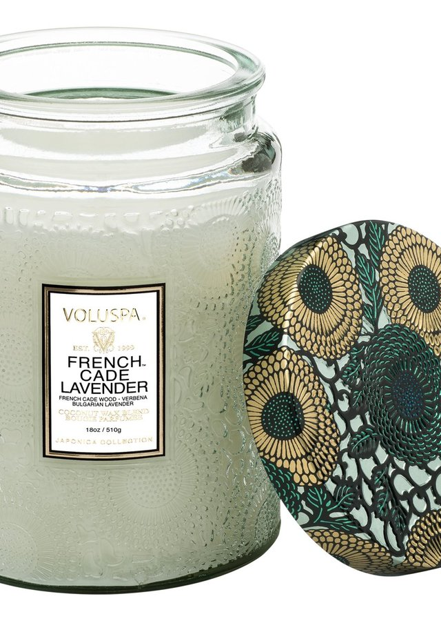 French Cade Lavender Glass Jar by The Flower Alley