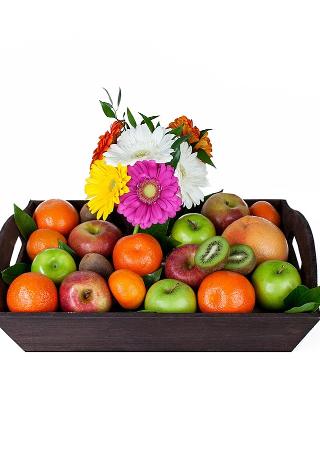 Display of Fruit and Flowers Gift Crate by The Flower Alley