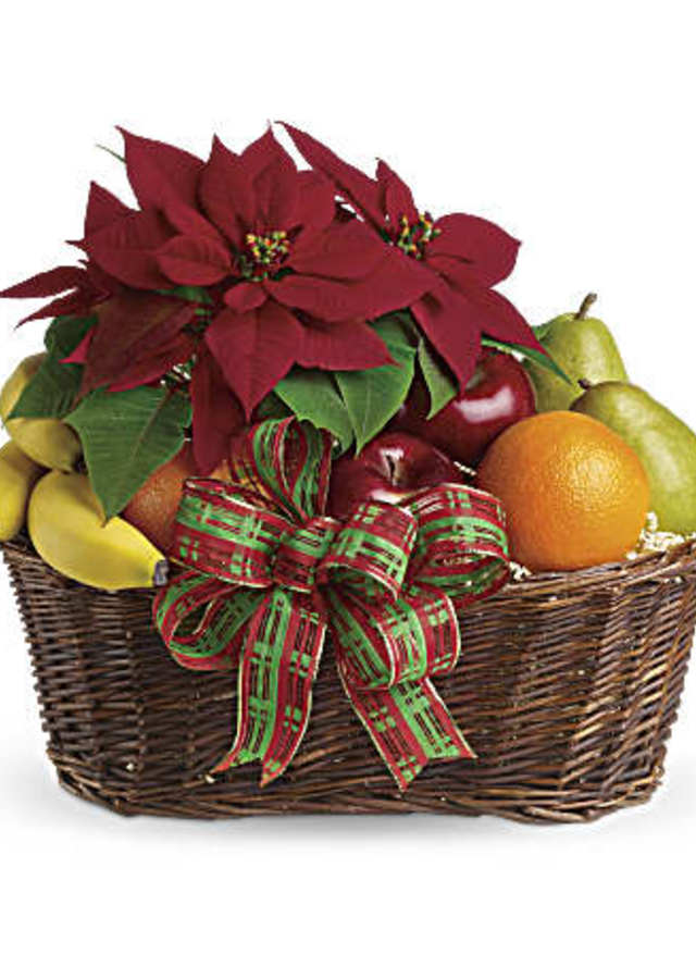 Display of Fruit and Poinsettia Basket by The Flower Alley