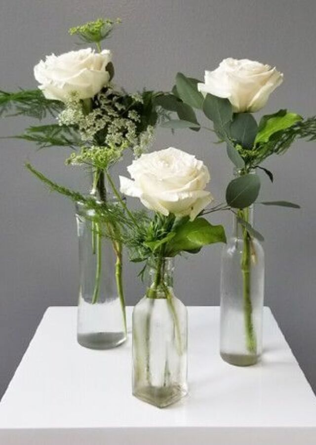 Display of Garden Style : Trio of White Budvases by The Flower Alley
