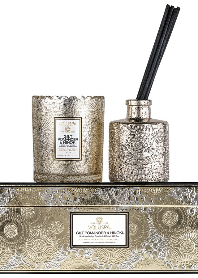 Display of Gilt Pomander and Hinoki : Candle and Diffuser Gift Set - Save $15 by The Flower Alley