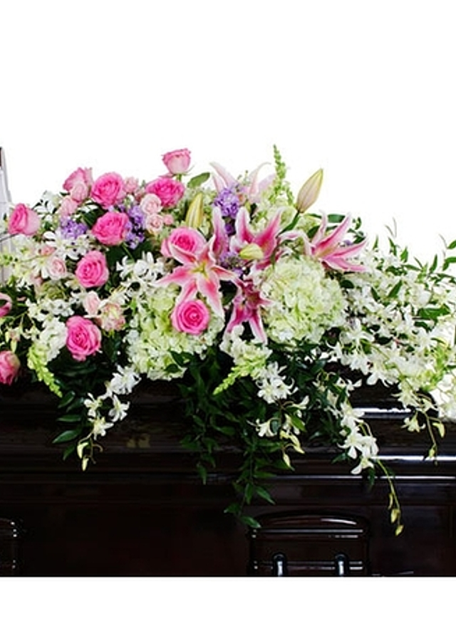 Display of Grace Casket Spray by The Flower Alley