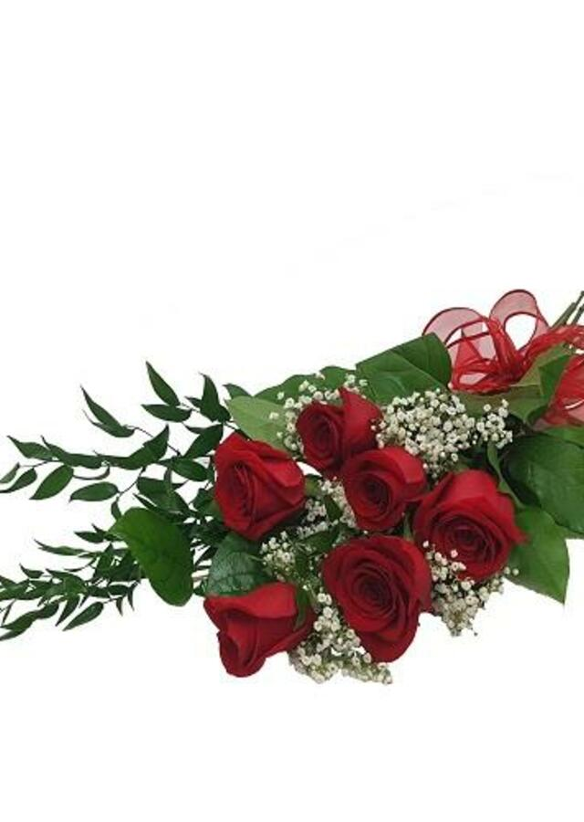 Display of Half Dozen Long Stem Rose Bouquet by The Flower Alley