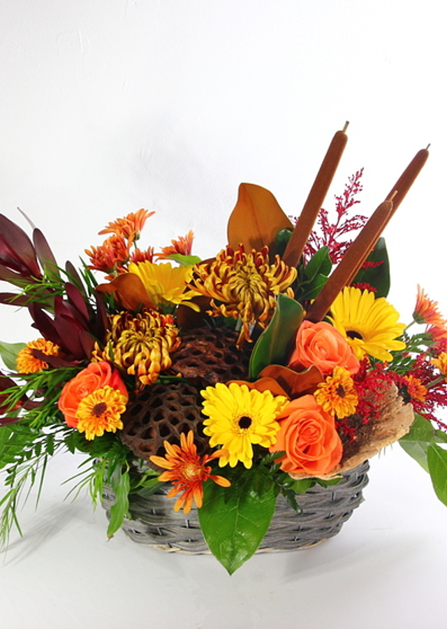 Display of Harvest Basket by The Flower Alley