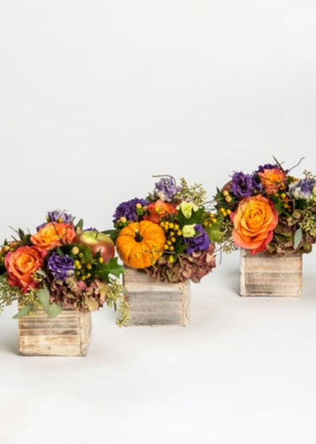 Display of Harvest Trio Centerpieces by The Flower Alley