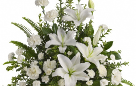 Display of Exquisite Heavenly White Lilies Basket by The Flower Alley